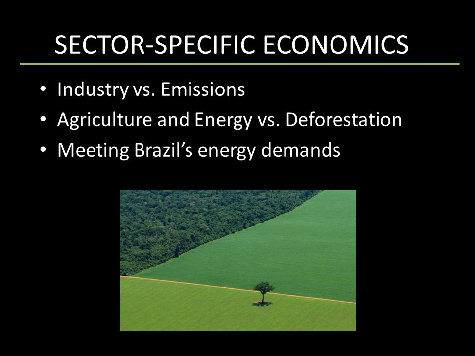 SECTOR-SPECIFIC ECONOMICSs Industry vs. Emissions Agriculture and Energy vs.