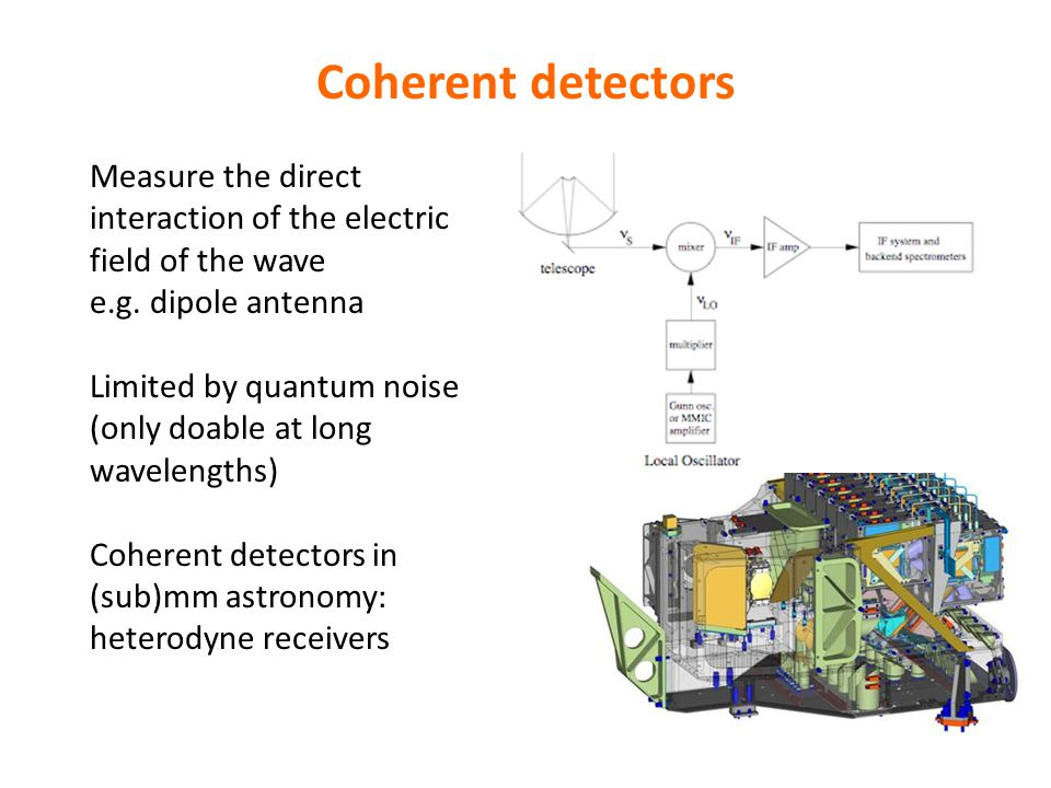 Coherent detectors Measure the direct interaction of the electric field of the wave e.g.