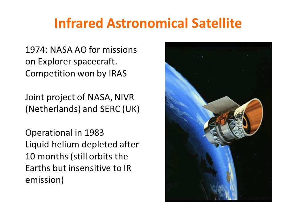 Infrared Astronomical Satellite 1974: NASA AO for missions on Explorer spacecraft.