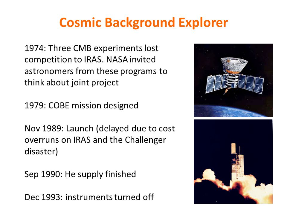 Cosmic Background Explorer 1974: Three CMB experiments lost competition to IRAS.