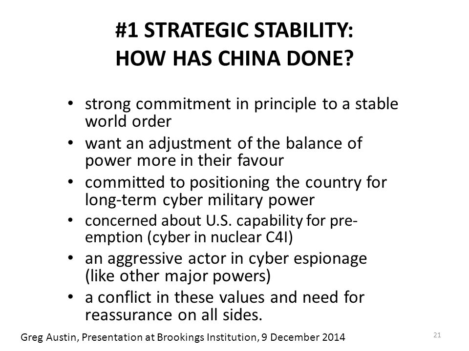 #1 STRATEGIC STABILITY: HOW HAS CHINA DONE.