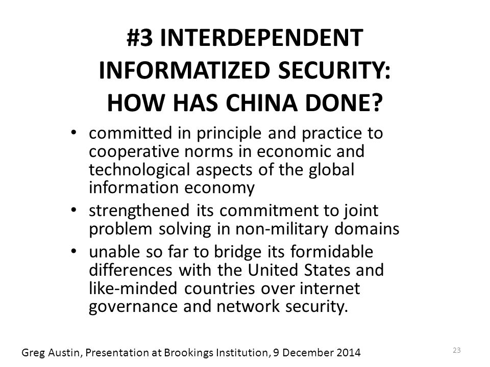 #3 INTERDEPENDENT INFORMATIZED SECURITY: HOW HAS CHINA DONE.