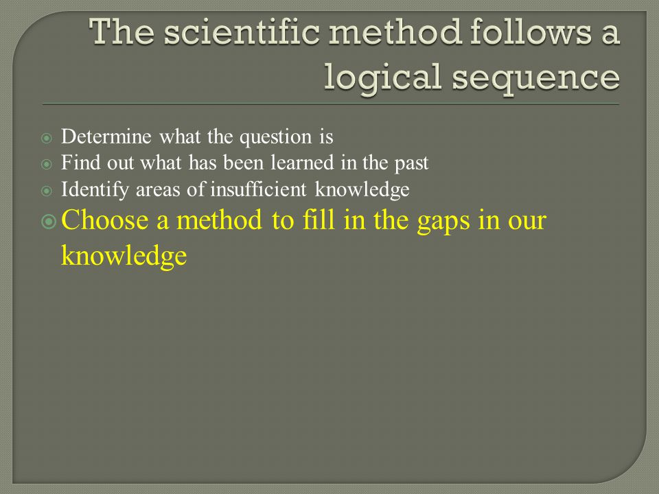  Determine what the question is  Find out what has been learned in the past  Identify areas of insufficient knowledge  Choose a method to fill in the gaps in our knowledge