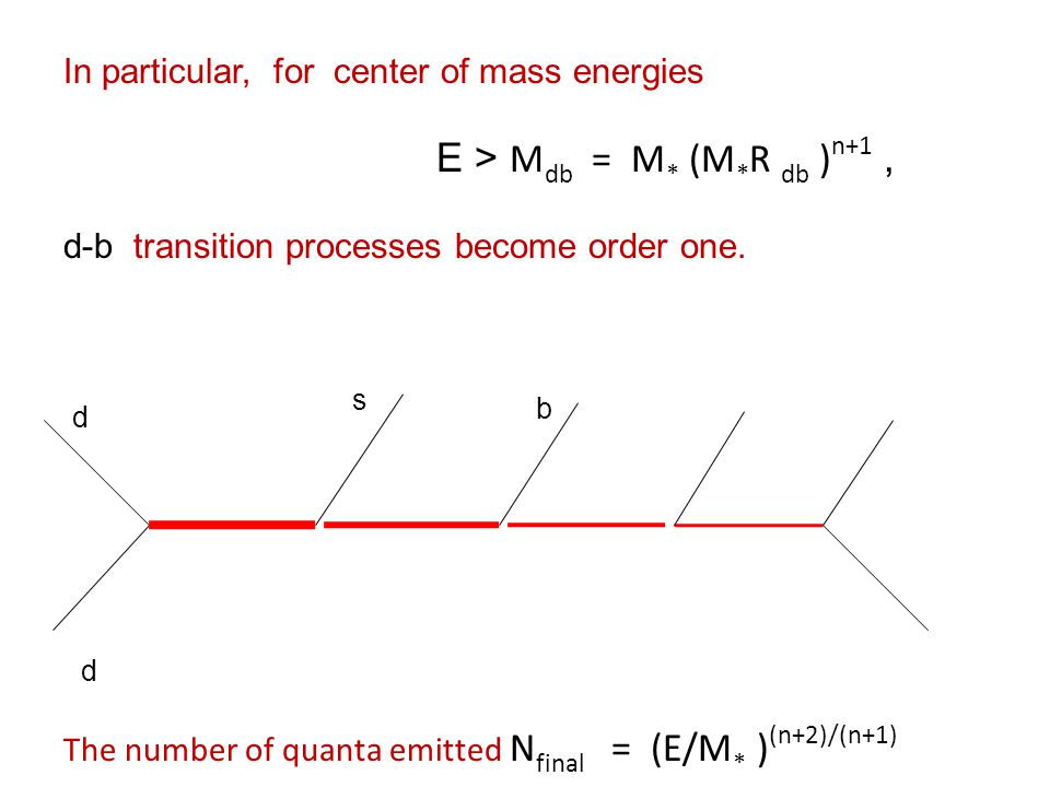 In particular, for center of mass energies E > M db = M * (M * R db ) n+1, d-b transition processes become order one.