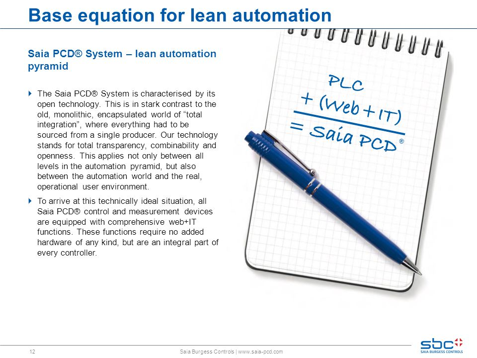 12 Base equation for lean automation Saia PCD® System – lean automation pyramid  The Saia PCD® System is characterised by its open technology.