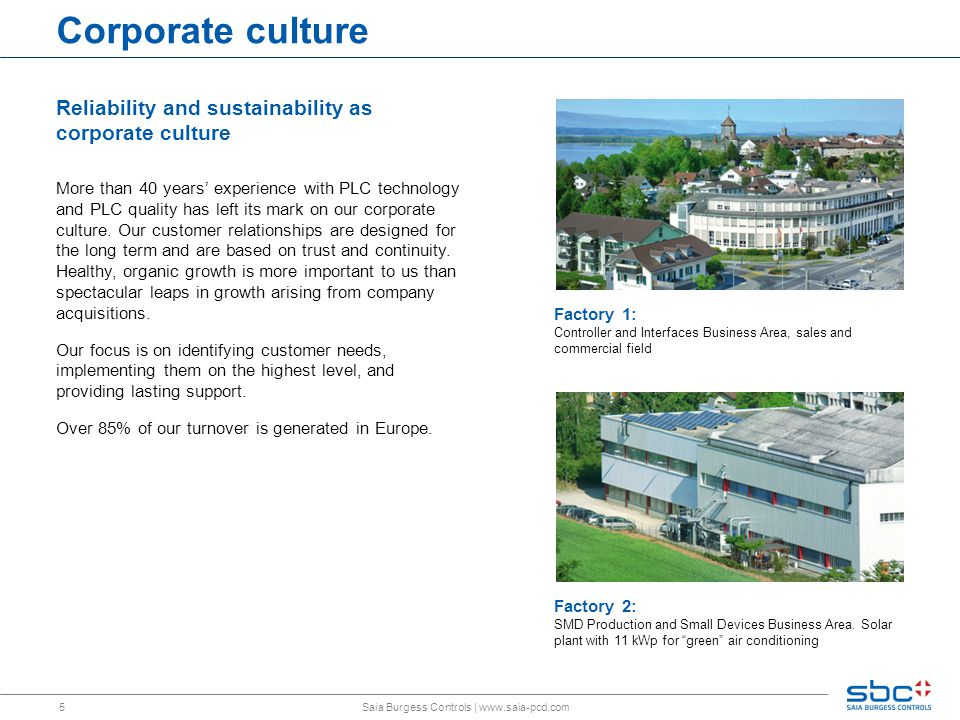 5 Corporate culture Factory 1: Controller and Interfaces Business Area, sales and commercial field Factory 2: SMD Production and Small Devices Business Area.
