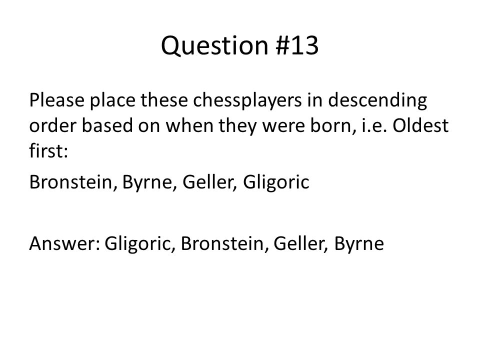 Question #13 Please place these chessplayers in descending order based on when they were born, i.e.