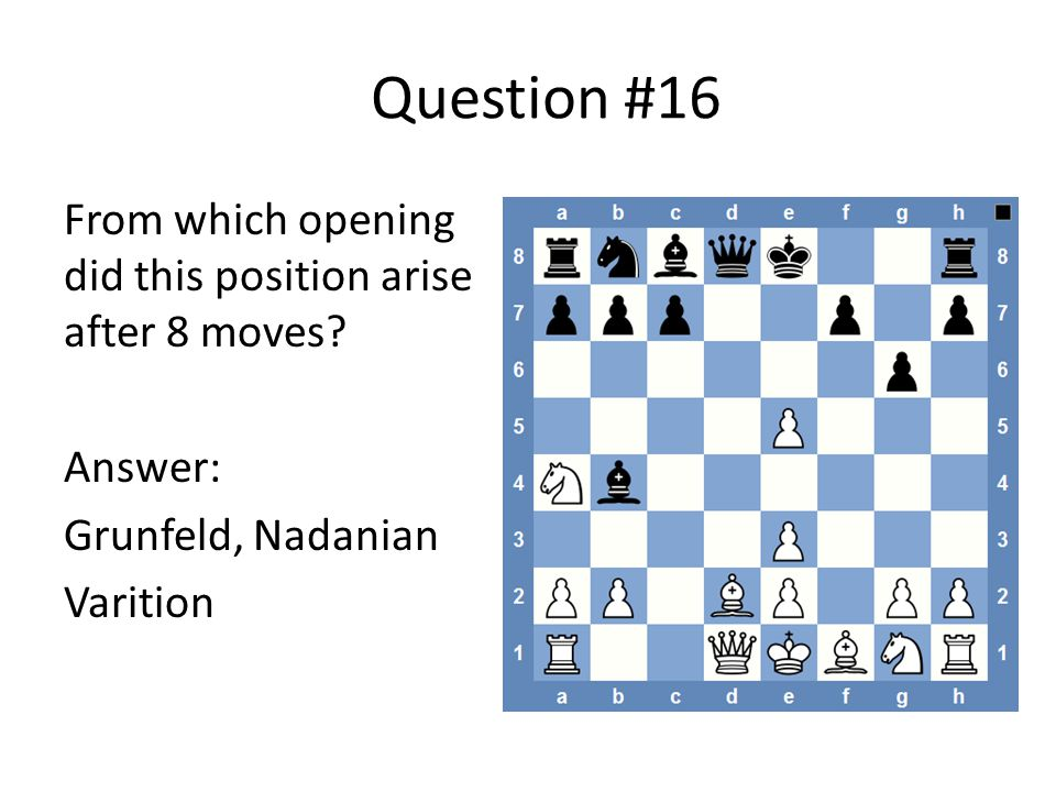 Question #16 From which opening did this position arise after 8 moves.