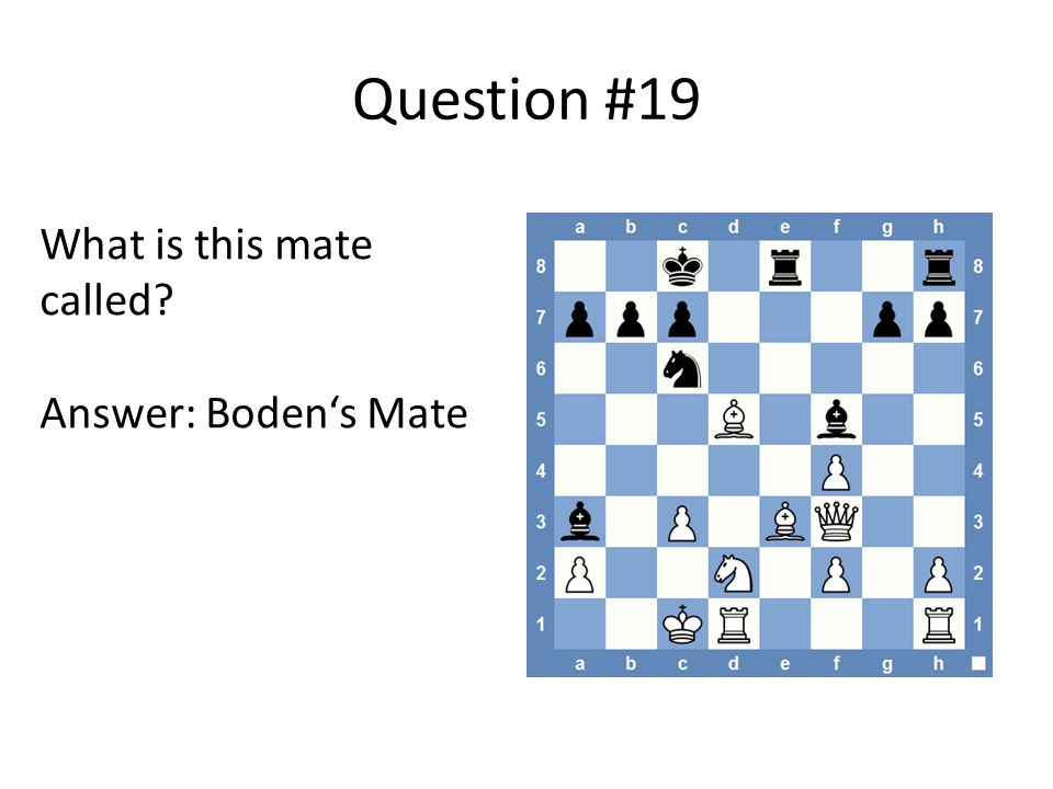 Question #19 What is this mate called Answer: Boden's Mate