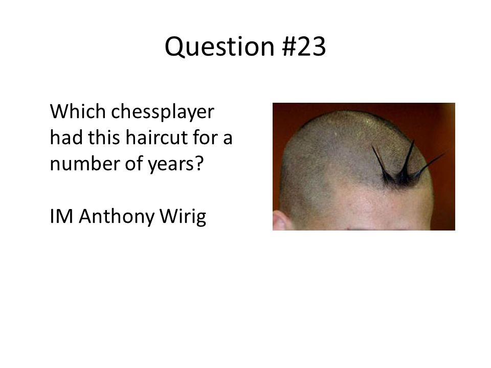 Question #23 Which chessplayer had this haircut for a number of years IM Anthony Wirig