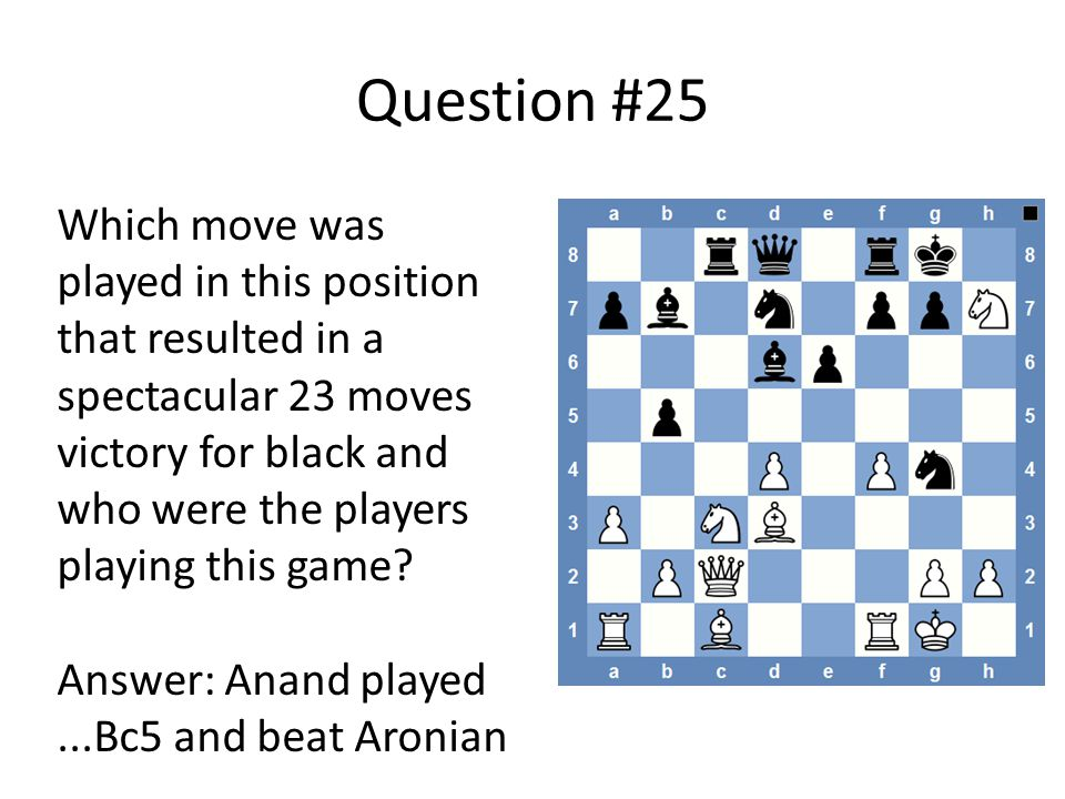 Question #25 Which move was played in this position that resulted in a spectacular 23 moves victory for black and who were the players playing this game.