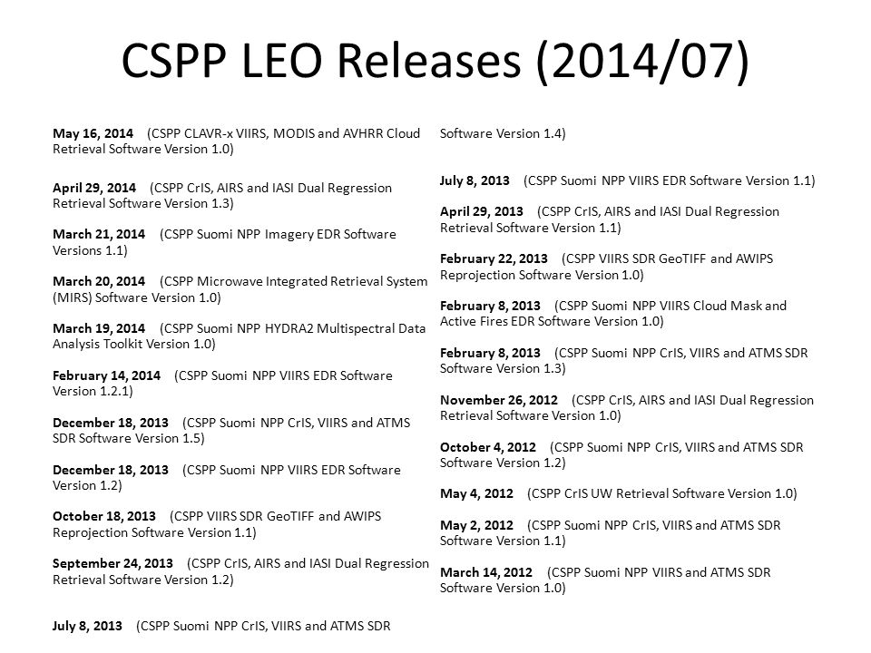 CSPP LEO Releases (2014/07) May 16, 2014 (CSPP CLAVR-x VIIRS, MODIS and AVHRR Cloud Retrieval Software Version 1.0) April 29, 2014 (CSPP CrIS, AIRS an