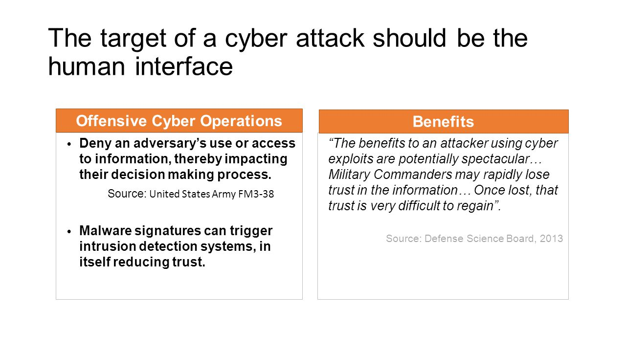 The target of a cyber attack should be the human interface Offensive Cyber Operations Deny an adversary's use or access to information, thereby impacting their decision making process.