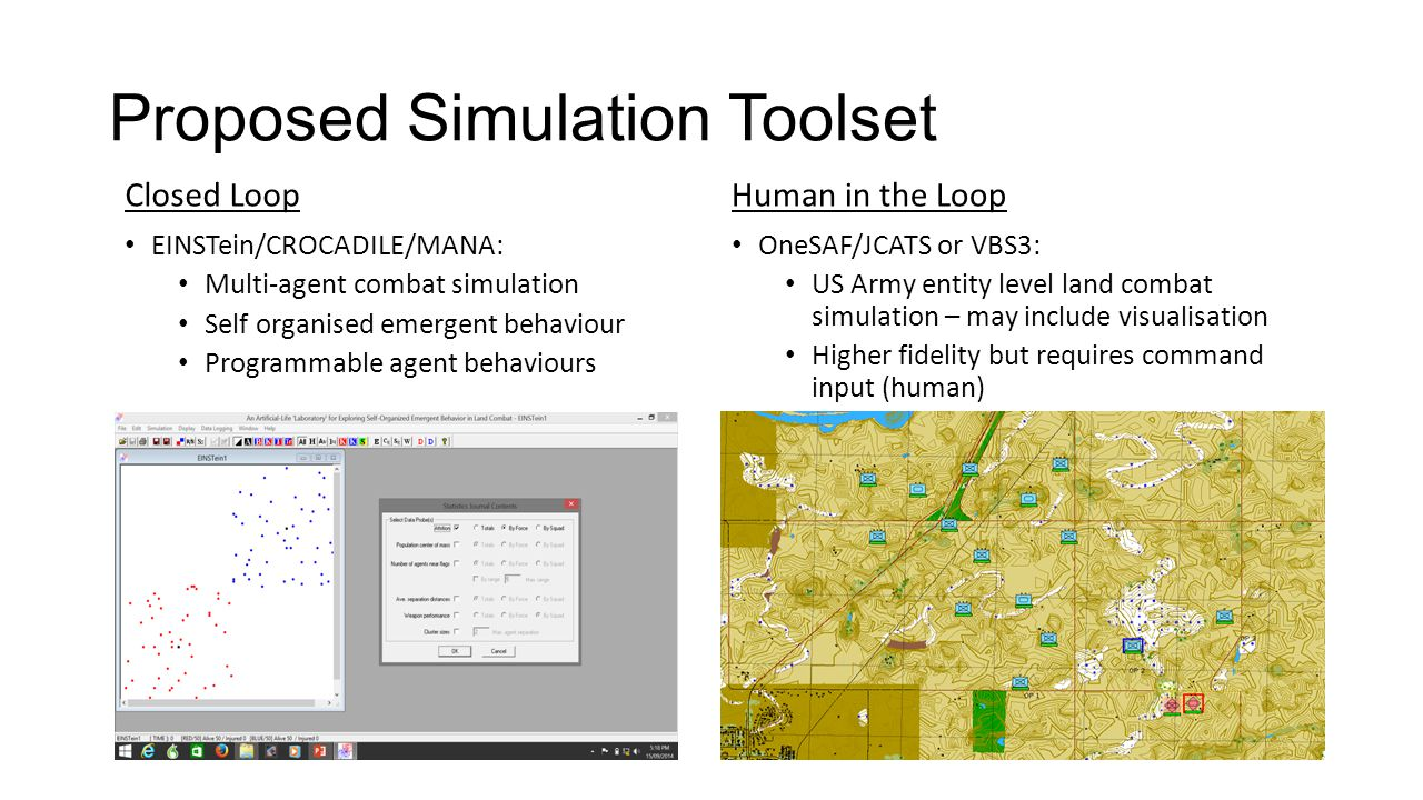 Proposed Simulation Toolset Human in the Loop OneSAF/JCATS or VBS3: US Army entity level land combat simulation – may include visualisation Higher fidelity but requires command input (human) Closed Loop EINSTein/CROCADILE/MANA: Multi-agent combat simulation Self organised emergent behaviour Programmable agent behaviours
