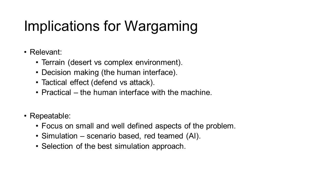 Implications for Wargaming Relevant: Terrain (desert vs complex environment).