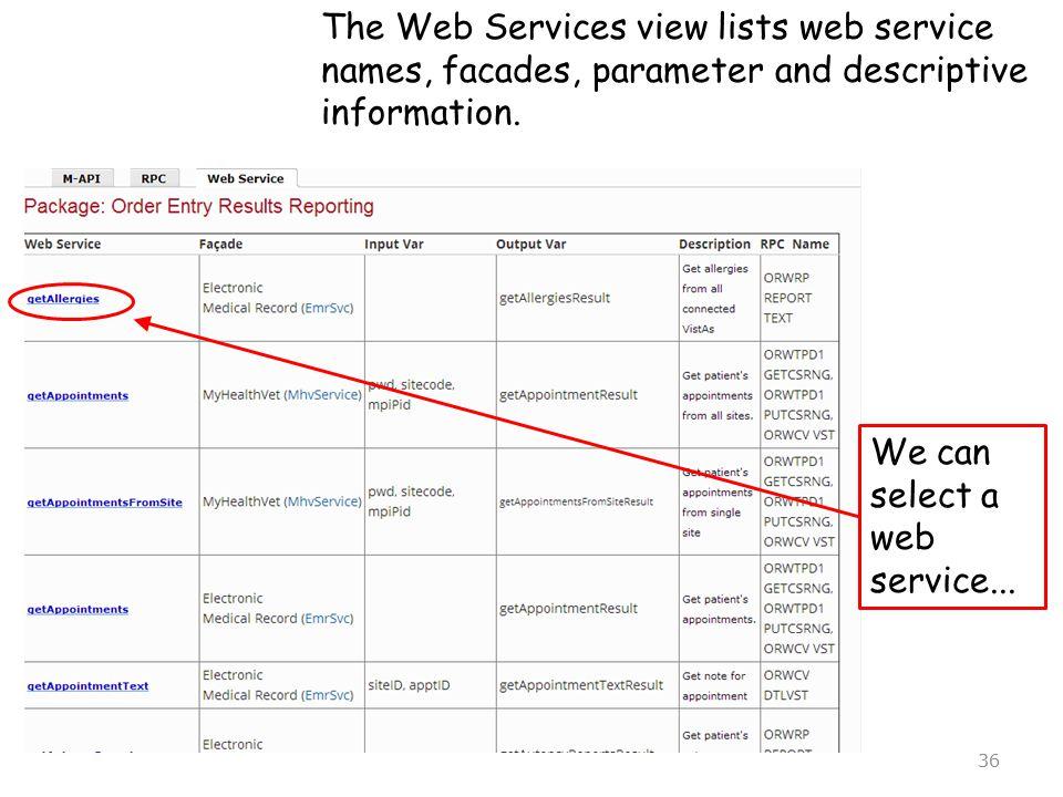The Web Services view lists web service names, facades, parameter and descriptive information.
