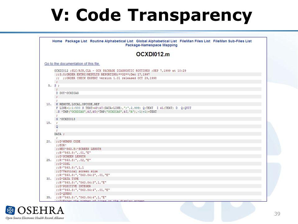 V: Code Transparency 39