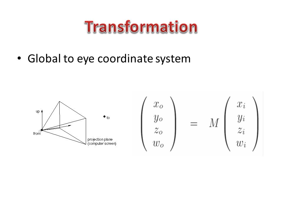Global to eye coordinate system