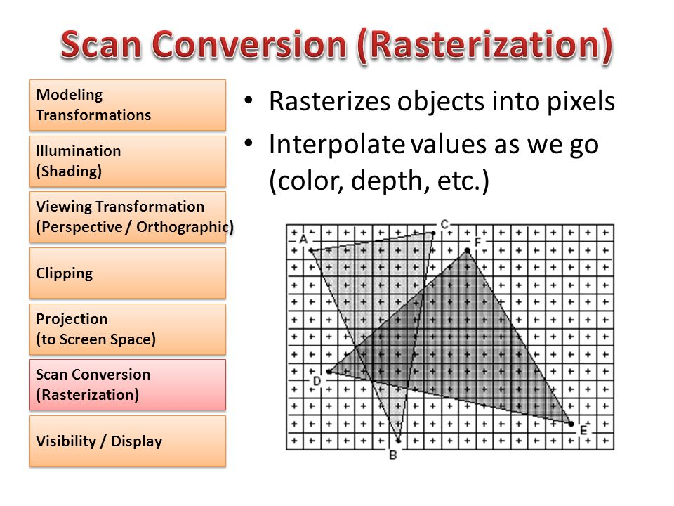 Rasterizes objects into pixels Interpolate values as we go (color, depth, etc.) Modeling Transformations Illumination (Shading) Illumination (Shading) Viewing Transformation (Perspective / Orthographic) Viewing Transformation (Perspective / Orthographic) Clipping Projection (to Screen Space) Scan Conversion (Rasterization) Visibility / Display