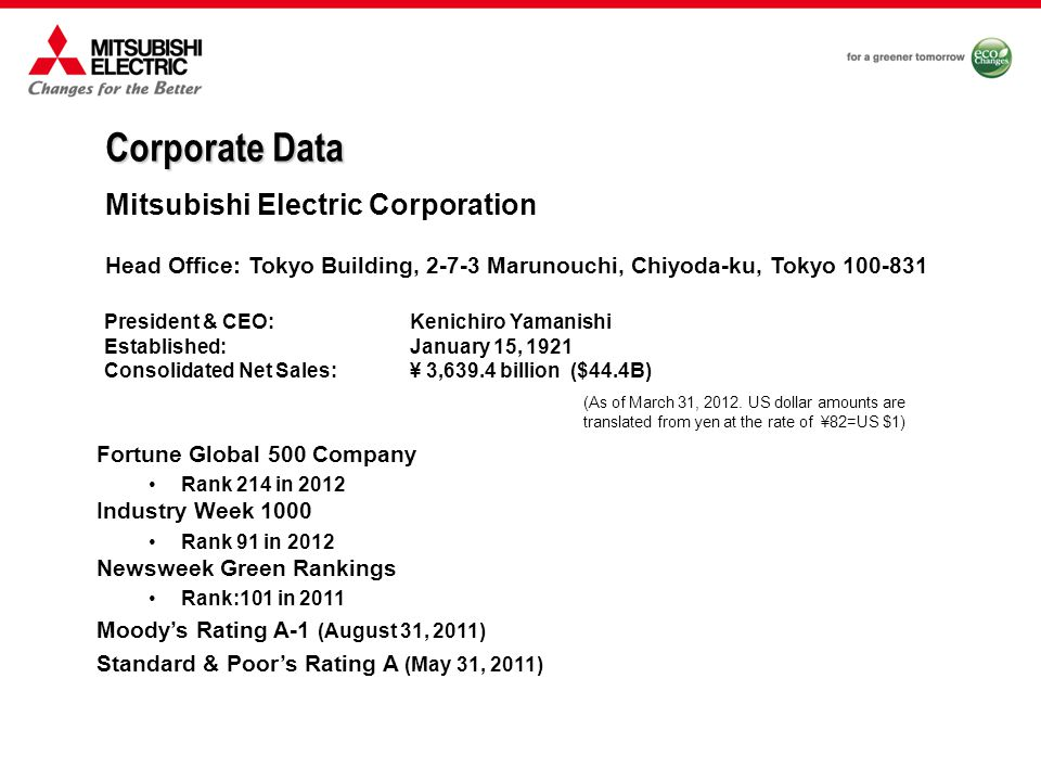 Today more than 40 companies carry the Mitsubishi name Each Mitsubishi company is a separate entity, operates independently and is separately traded on the Nikkei stock exchange 1870 1886 1917 1921 1945 1946 Each Mitsubishi company starts as a new independent entity Mitsubishi Headquarters dissolved Mitsubishi Electric Corporation established Mitsubishi Headquarters becomes holding company Mitsubishi Corporation established Tsukumo Trading Company  the origin of Mitsubishi  established Mitsubishi Companies Bank of Tokyo-Mitsubishi UFJ  Mitsubishi Aluminum  Mitsubishi Chemical  Mitsubishi Corporation  Mitsubishi Electric  Mitsubishi Estate  Mitsubishi Fuso Truck & Bus  Mitsubishi Gas Chemical  Mitsubishi Heavy Industries  Mitsubishi Kakoki  Mitsubishi Logistics  Mitsubishi Materials  Mitsubishi Motors  Mitsubishi Paper Mills  Mitsubishi Plastics  Mitsubishi Rayon  Mitsubishi Research Institute  Mitsubishi Steel Manufacturing  Mitsubishi UFJ Securities Holdings  Mitsubishi UFJ Trust and Banking