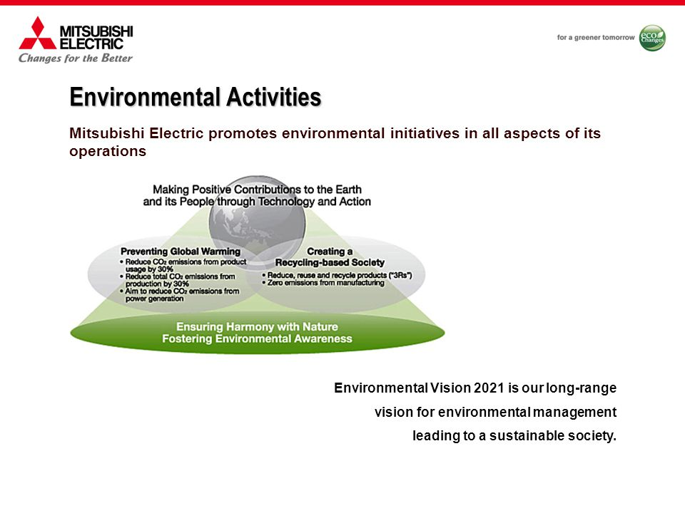 Mitsubishi Electric promotes environmental initiatives in all aspects of its operations Environmental Activities Environmental Vision 2021 is our long-range vision for environmental management leading to a sustainable society.