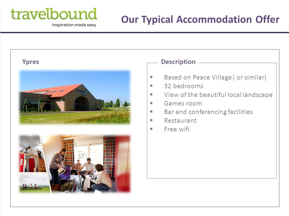Our Typical Accommodation Offer  The tour is based on 3* accommodation located on Paris outskirts.