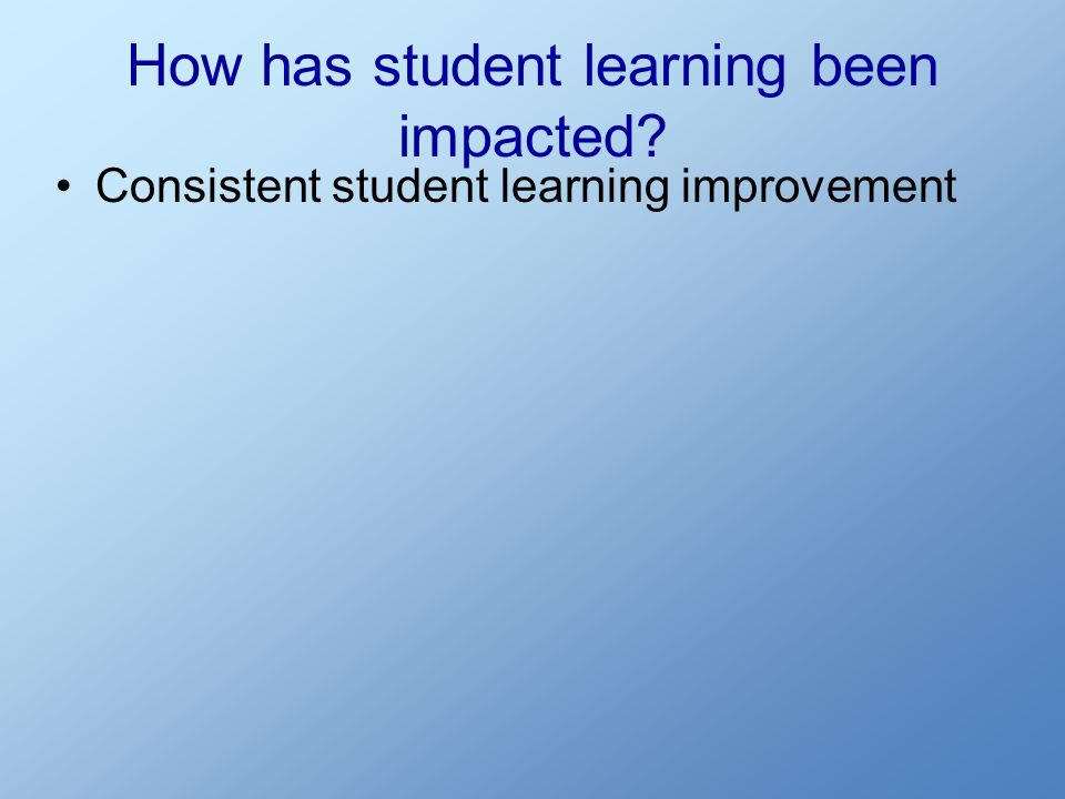 How has student learning been impacted? Consistent student learning improvement