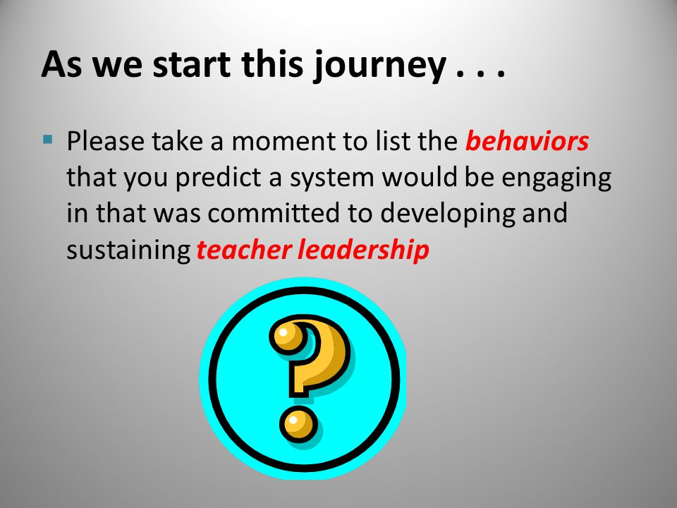 As we start this journey...  Please take a moment to list the behaviors that you predict a system would be engaging in that was committed to developi