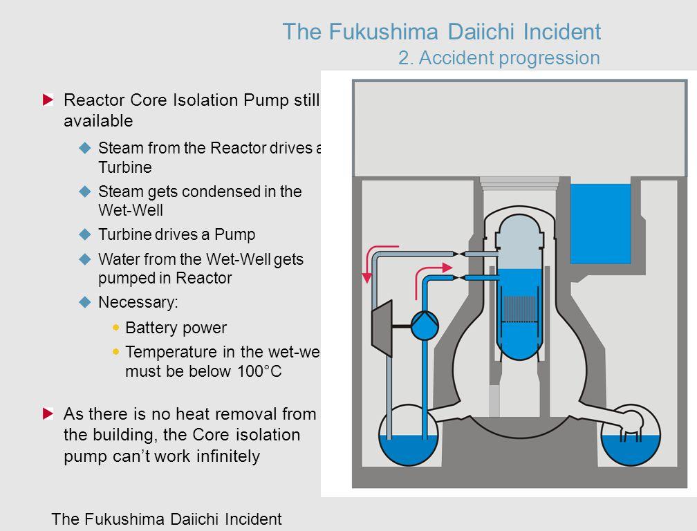 The Fukushima Daiichi Incident The Fukushima Daiichi Incident 2. Accident progression Reactor Core Isolation Pump still available  Steam from the Rea