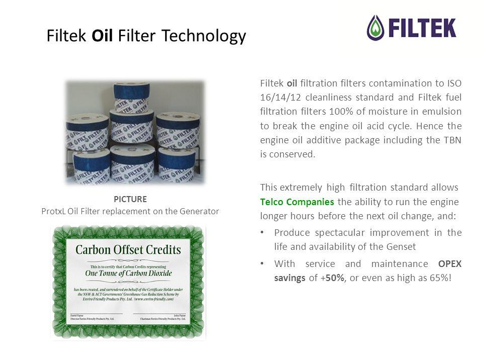 Filtek Oil Filter Technology Filtek oil filtration filters contamination to ISO 16/14/12 cleanliness standard and Filtek fuel filtration filters 100% of moisture in emulsion to break the engine oil acid cycle.