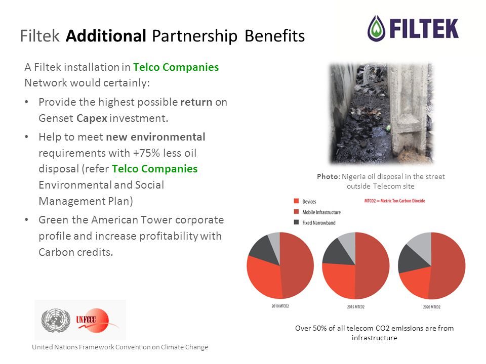 Filtek Additional Partnership Benefits A Filtek installation in Telco Companies Network would certainly: Provide the highest possible return on Genset Capex investment.