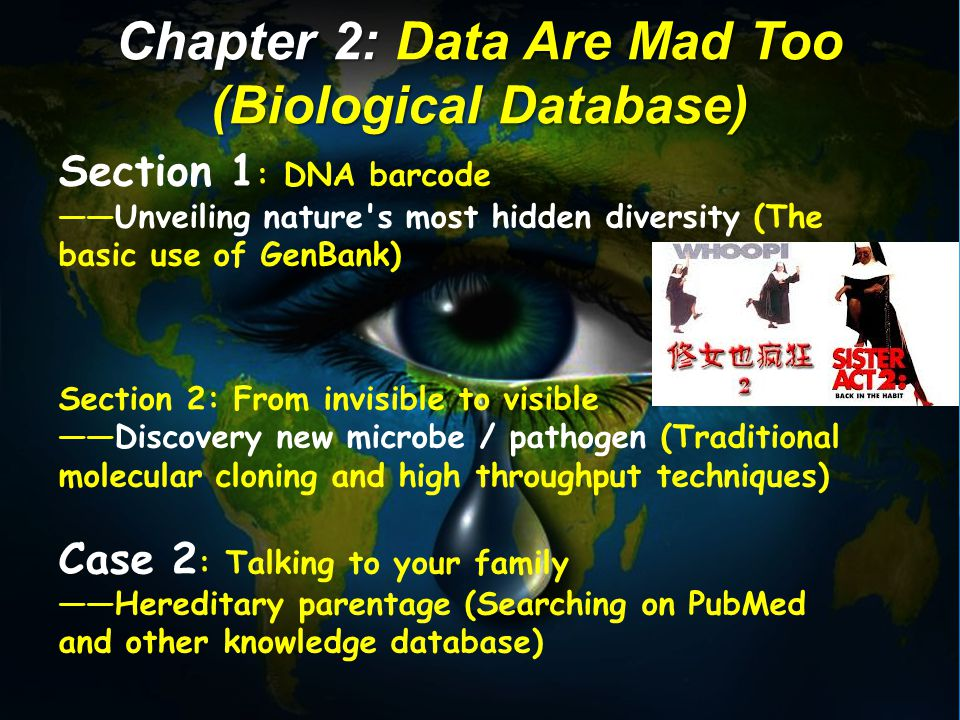 Section 1 : DNA barcode ——Unveiling nature s most hidden diversity (The basic use of GenBank) Section 2: From invisible to visible ——Discovery new microbe / pathogen (Traditional molecular cloning and high throughput techniques) Case 2 : Talking to your family ——Hereditary parentage (Searching on PubMed and other knowledge database) Chapter 2: Data Are Mad Too (Biological Database)
