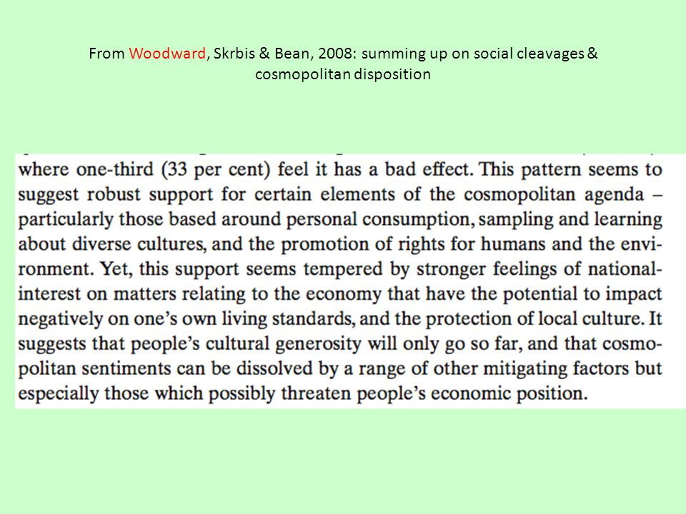 From Woodward, Skrbis & Bean, 2008: summing up on social cleavages & cosmopolitan disposition