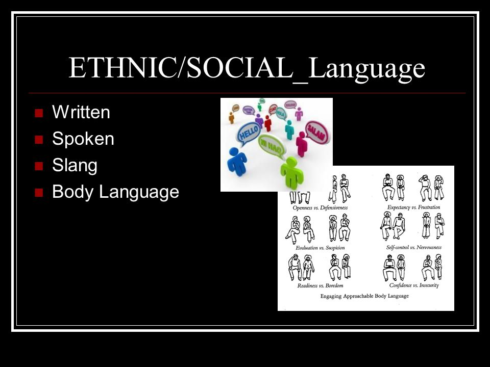 ETHNIC/SOCIAL_Language Written Spoken Slang Body Language