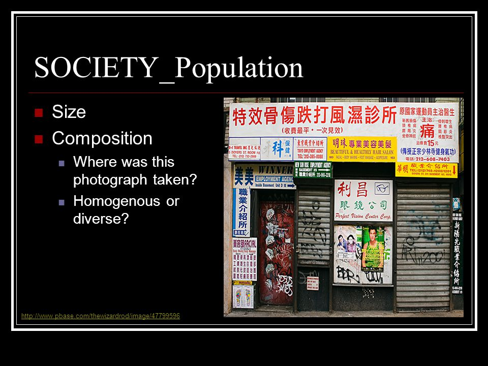 SOCIETY_Population Size Composition Where was this photograph taken.