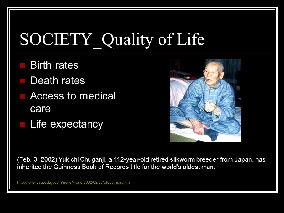 SOCIETY_Quality of Life Birth rates Death rates Access to medical care Life expectancy (Feb.