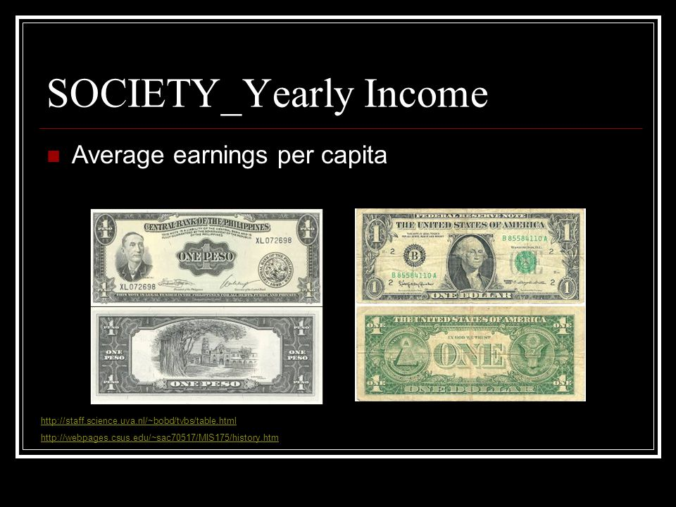 SOCIETY_Yearly Income Average earnings per capita http://staff.science.uva.nl/~bobd/tvbs/table.html http://webpages.csus.edu/~sac70517/MIS175/history.htm