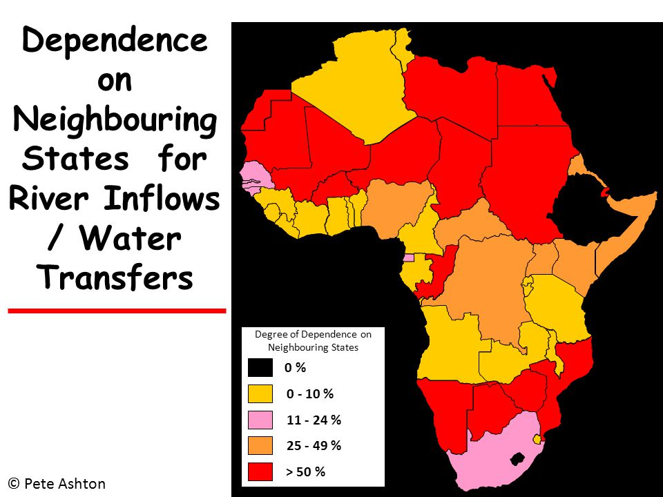 Dependence on Neighbouring States for River Inflows / Water Transfers 50010000 Kilometres N 0 % 0 - 10 % 11 - 24 % 25 - 49 % > 50 % Degree of Dependence on Neighbouring States © Pete Ashton