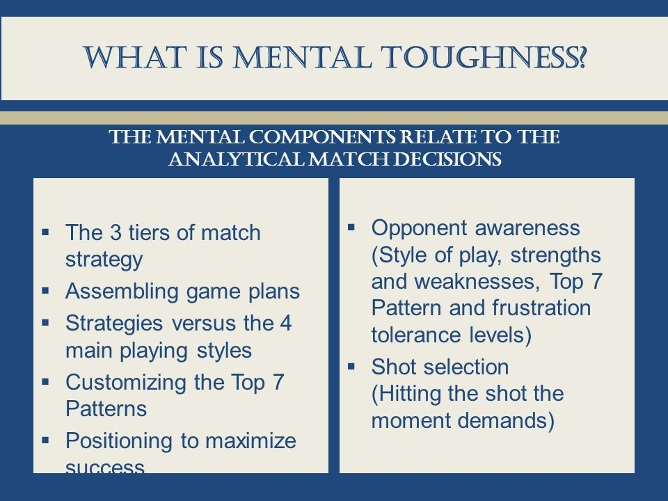 What is Mental toughness?  The 3 tiers of match strategy  Assembling game plans  Strategies versus the 4 main playing styles  Customizing the Top