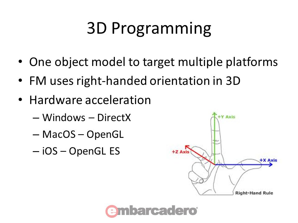 3D Programming One object model to target multiple platforms FM uses right-handed orientation in 3D Hardware acceleration – Windows – DirectX – MacOS – OpenGL – iOS – OpenGL ES