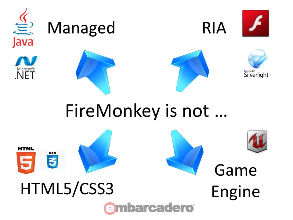 FireMonkey Architecture IRoot – Interface for top-level containers – Handles Focused, Captured, Active controls – Implemented by TCustomForm IScene – Container interface for 2D objects – Implemented by TForm, TCustomLayer3D IViewport3D – Container interface for 3D objects – Implemented by TForm3D, TViewport3D