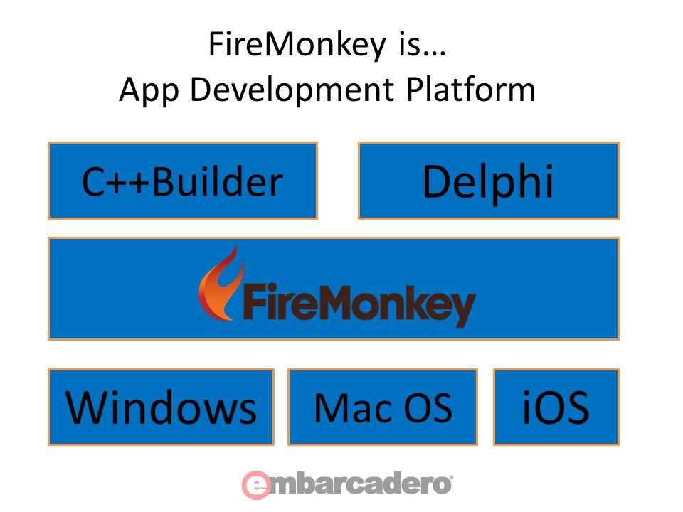 FireMonkey is… App Development Platform Delphi C++Builder Windows Mac OS iOS