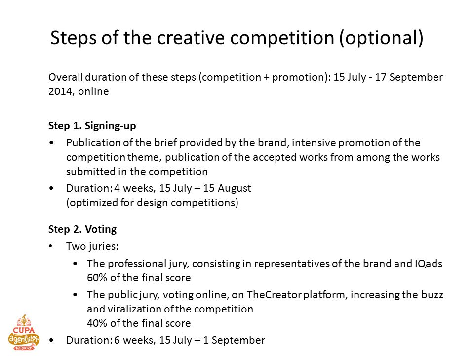 Steps of the creative competition (optional) Overall duration of these steps (competition + promotion): 15 July - 17 September 2014, online Step 1.