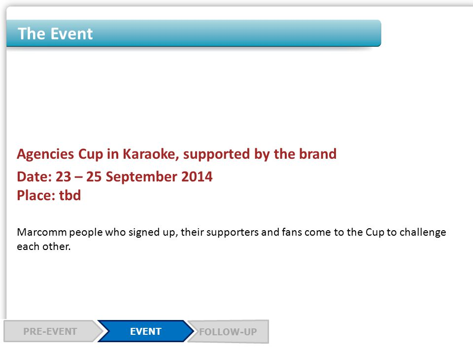 The Event Agencies Cup in Karaoke, supported by the brand Date: 23 – 25 September 2014 Place: tbd Marcomm people who signed up, their supporters and fans come to the Cup to challenge each other.