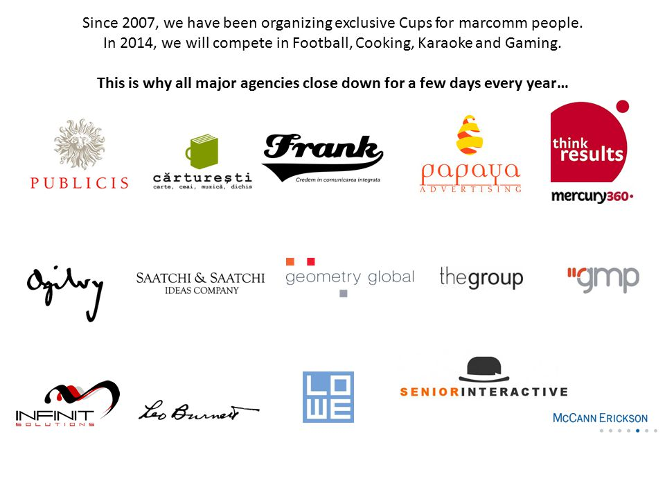 Activities of the Cup: brands Extensive opportunities for brand activations, online and offline Possible starters (customized per request for each brand): On-site branding: in the room, on stage, on site, etc.