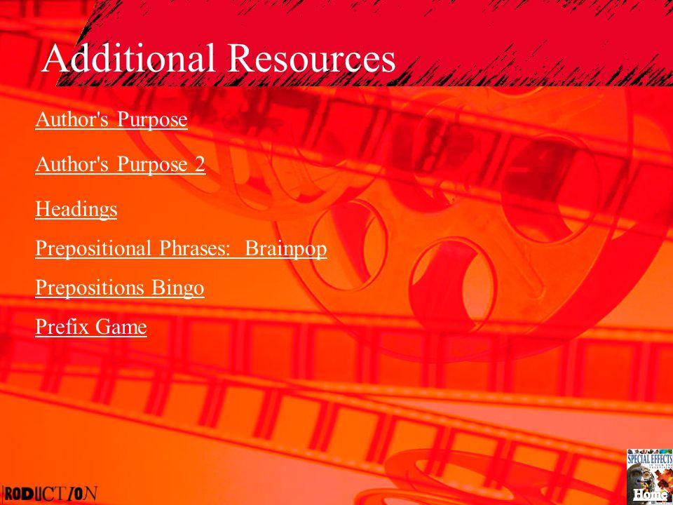 Additional Resources Author's Purpose Author's Purpose 2 Headings Prepositional Phrases: Brainpop Prepositions Bingo Prefix Game