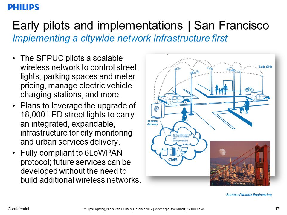 Confidential Philips Lighting, Niels Van Duinen, October 2012 | Meeting of the Minds, 121009.nvd Early pilots and implementations | San Francisco Implementing a citywide network infrastructure first Source: Paradox Engineering 17 The SFPUC pilots a scalable wireless network to control street lights, parking spaces and meter pricing, manage electric vehicle charging stations, and more.