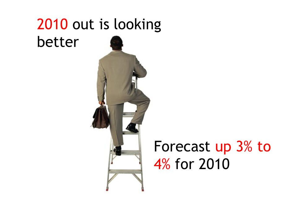 2010 out is looking better Forecast up 3% to 4% for 2010
