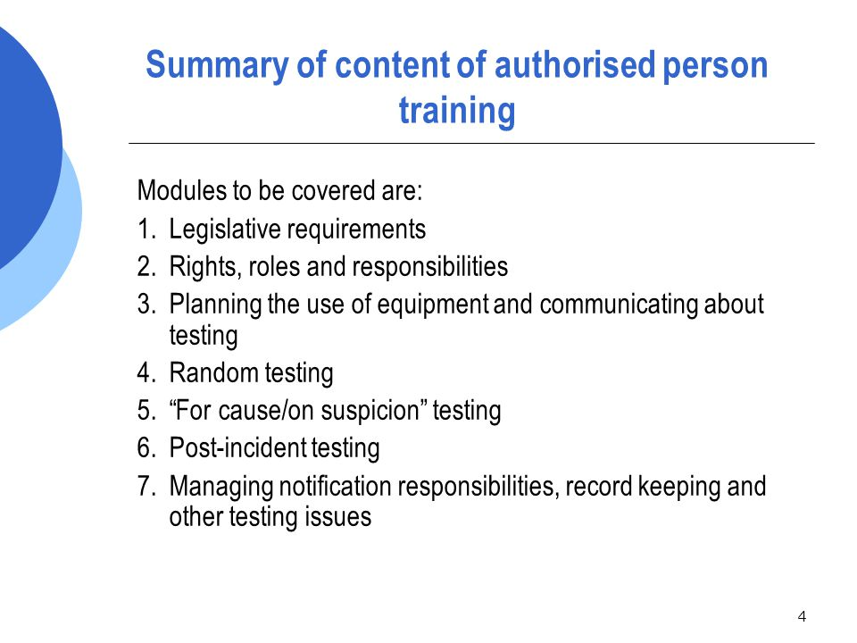 55 Issues to consider in planning random testing  Determine:  how rail safety workers will be selected for testing and the type of testing (breath or urine) to be conducted; and  whether higher risk job categories may need to be tested more often;  the impact testing will have on railway operations;  the resources available to do the testing i.e.