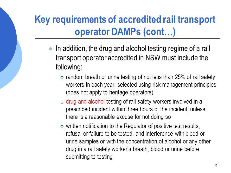 80 Exercise 1: Rail transport operator record keeping requirements  Discuss your rail transport operator's DAMP record keeping requirements.